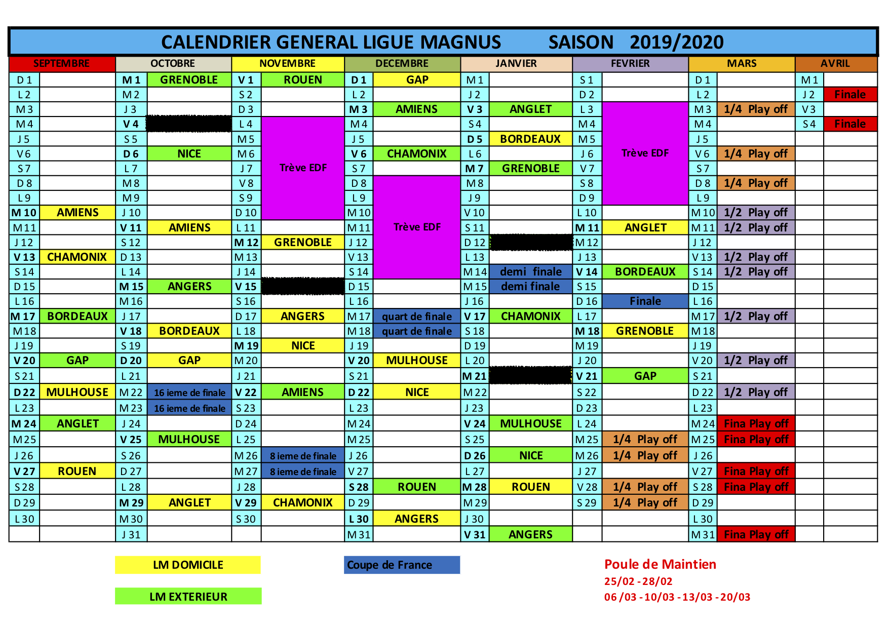 Coupe De France Calendrier 2020.Calendrier 2019 2020 Les Diables Rouges De Briancon